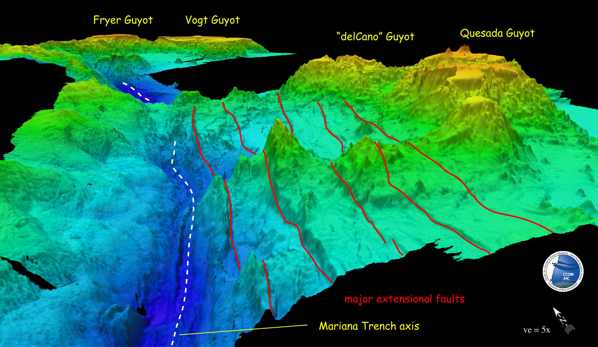 Bathymetry image showing Mariana Trench - Guyots Carried into the Trenc
