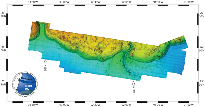 Oblique view of the Sigsbee Escarpment bathymetry map.