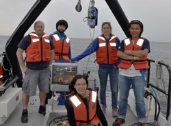 Students on the stern of a research vessel.