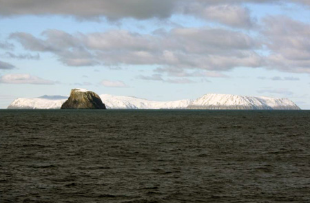 Fairway Rock, Big Diomede and Little Diomede Islands.