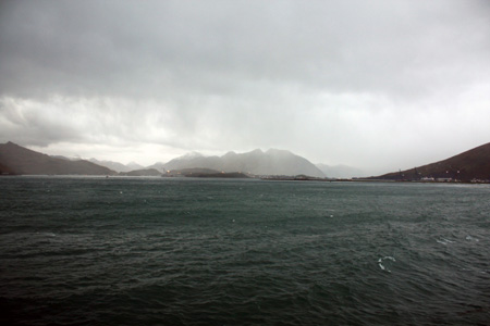 Dutch Harbor seen across the sea.