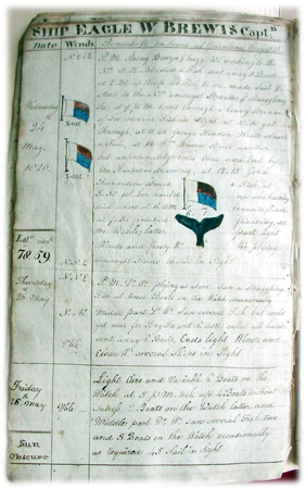 Page of old logbook with handwriting and hand-drawn images.