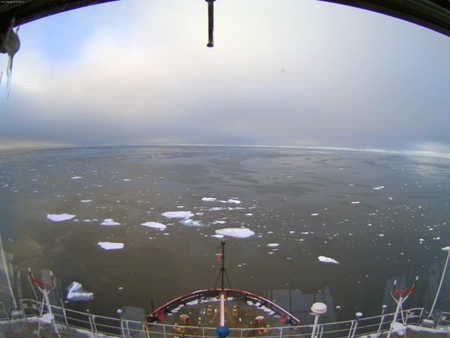 Picture of ice floating in the sea taken from the camera in Healy's Aloft Con.