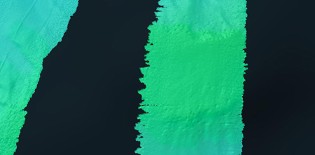 Detail of bathymetric mapping showing pockmarks.