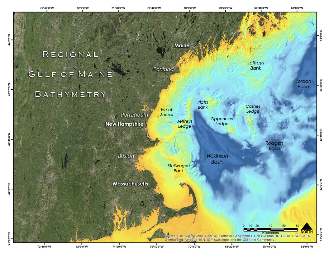 Figure 2. MBES bathymetry combined with the lower resolution, regional bathymetry