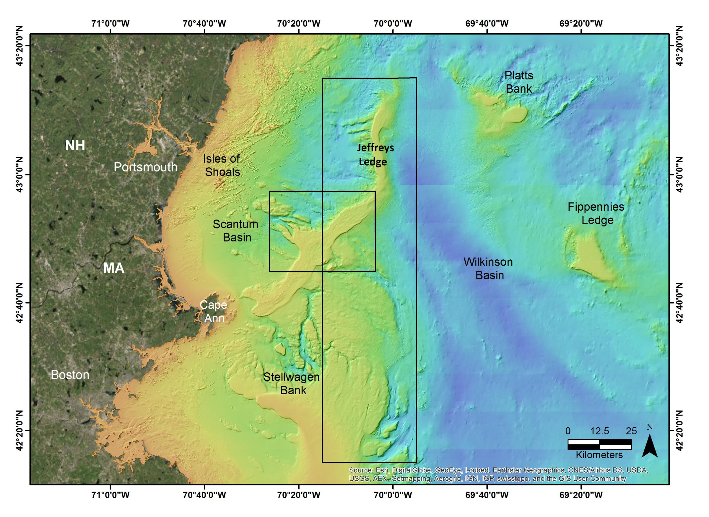 Topography Map Of Maine.Jeffreys Ledge The Center For Coastal And Ocean Mapping