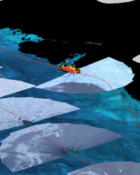 GeoZui4D visualization of GeoCam ice coverage