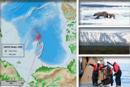 Images from the 12-02 Healy cruise: a map of Healy's trackline, polar bear mom and cub, Little Diomede Island, crew members with the dredge bucket on the deck.