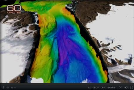 Screenshot from the segment showing bathymetry off of Greenland's Petermann glacier.