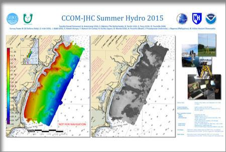 A poster showing 2 maps of the Rye coastline, one with colorful bathymetry map and one with grey scale backscatter.