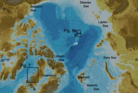Bathymetric chart of the Arctic Ocean.