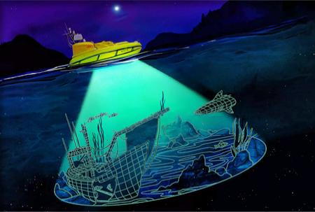 Illlustration depicting BEN on the surface with a cone of light revealing the lakebed with a shipwreck and fish.