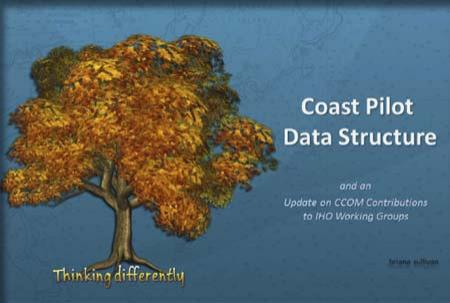 "Title slide from Briana's presentation on Coast Pilot DAta Structure featuring an autumn-colored tree with ""Think Differently"" at the base."