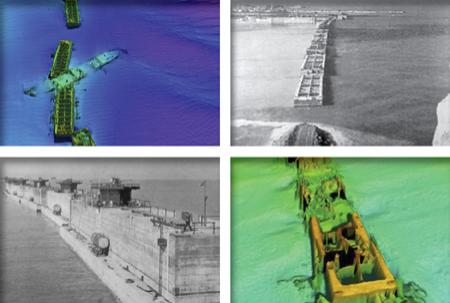 Bathymetric images of submerged caissons along with original photos form WWII of caissons being deployed.