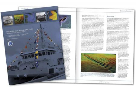 Cover and open spread of the executive summary. The cover shows the NOAA Ship Hassler with semaphore flags displayed.