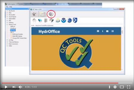 screenshot from the video showing HydrOffice website's QCTools landing page.