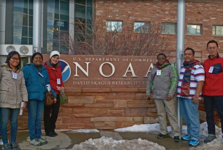 The GEBCO students pose in front of the NOAA sign in Boulder, CO.