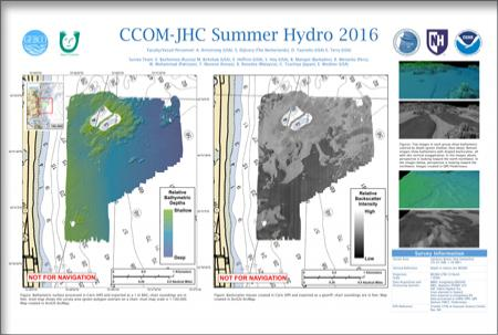 A poster showing maps with bathymetry and backscatter in an area off Salisbury, NH
