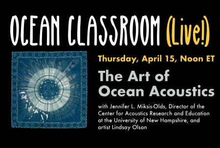 Image giving details of the virtual seminar and an image of a blue, acoustic-related textile.