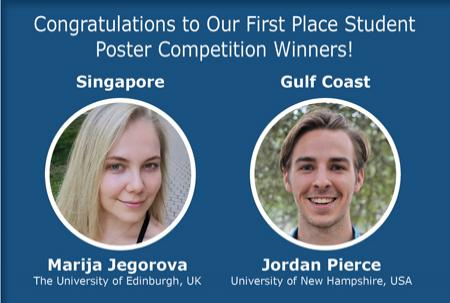 Photos of competition winners Marija Jegorova and Jordan Pierce with their names and universities on blue background.