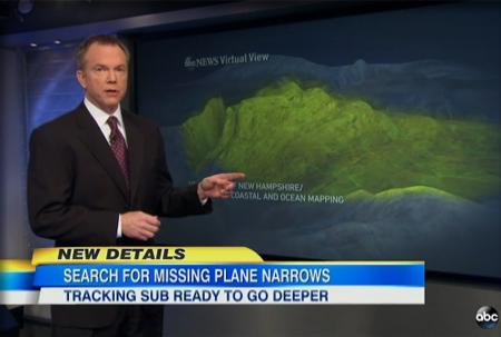 ABC News correspondent with ocean floor graphics