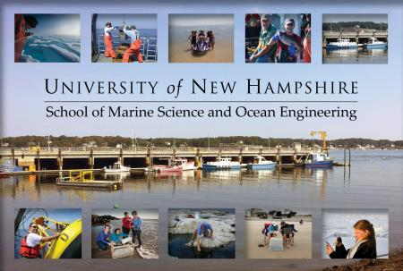 photos showing different aspects of marine science and ocean engineering on a background showing the marine pier at New Castle, NH