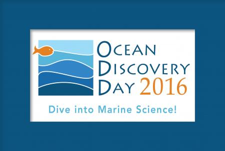 Logo for Ocean Discovery Day (blue waves and orange fish)