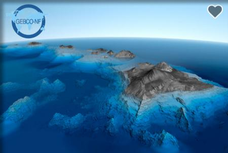 Image of islands with transparent water showing the land underwater.