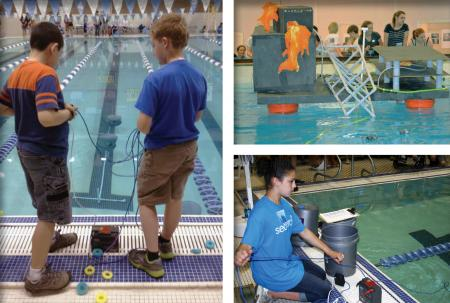 Scenes from the 2013 SeaPerch Competition: 2 boys control their ROVs poolside, a simulated oil rig blowout, and a girl controls her ROV poolside.