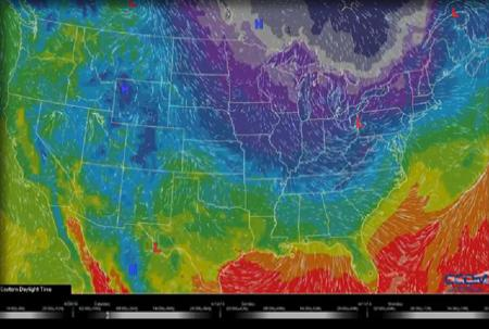 Screenshot of temperature gradients overlaid on US map.