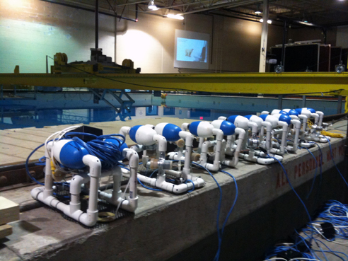 Mini ROVs built by UNH Tech Campers lined up and ready to be tested in the deep tank.