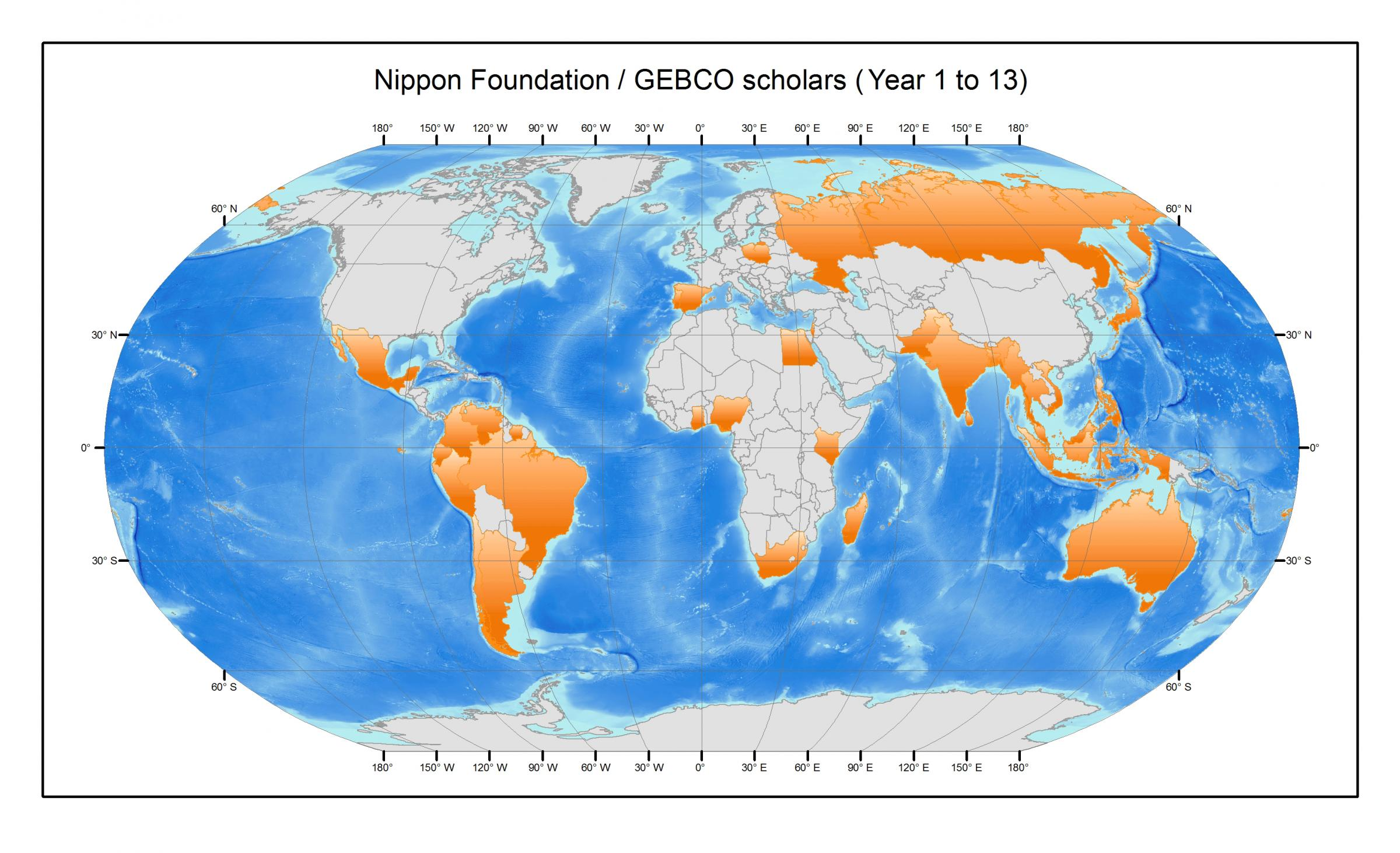 World map showing countries of GEBCO scholars in orange.