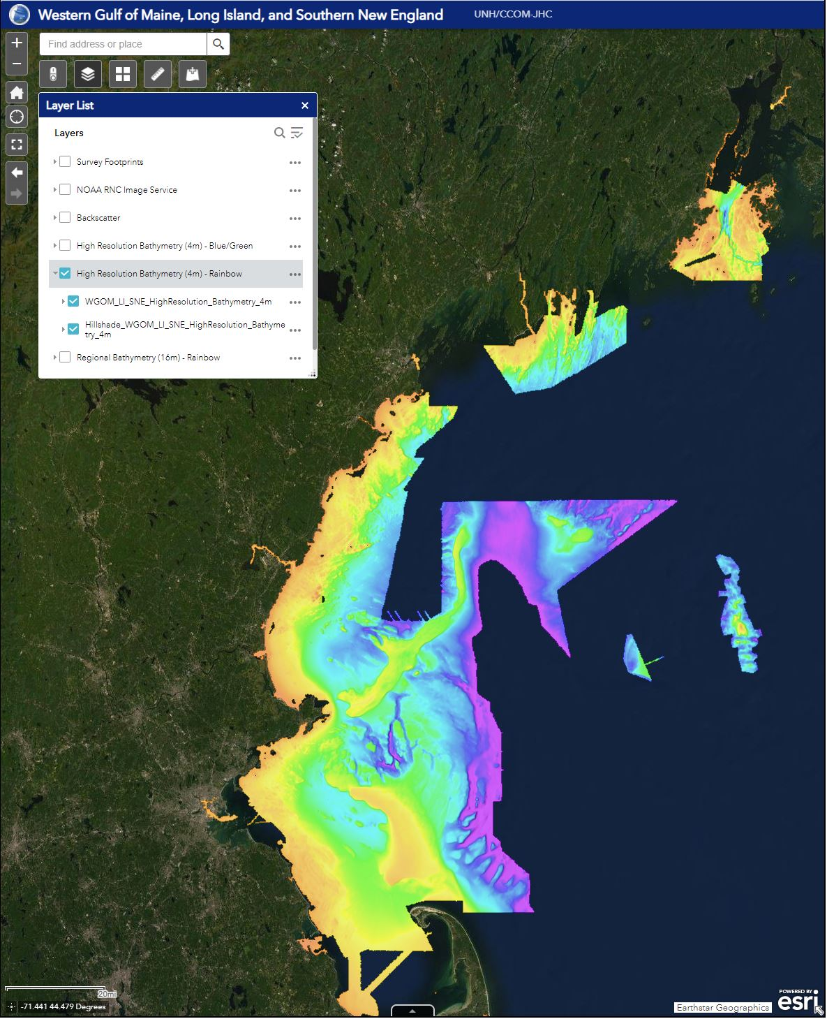 Satellite image of New England coast with blocks of color gradients showing ocean depth.
