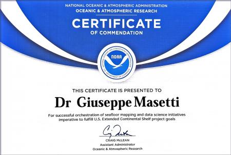 Certificate of commendation for Giuseppe Masetti with the NOAA logo and signed by Craig McLean