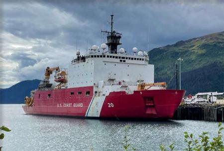 USCGC Healy alongside dock in Seward, AK.