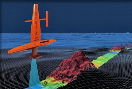 Artist's rendering of the Saildrone ASV on the surface and showing details of the seafloor in the path of the multibeam sonar.