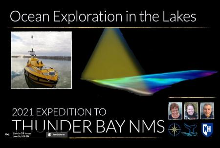 Title card for the Thunder Bay webinar showing photos of the ASV BEN and the speakers as well as a rendering which depicts a multibeam swath mapping a lake bottom.