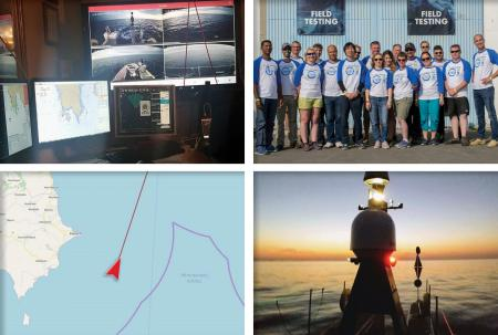 4 images showing monitors, the team group photo, SEAKIT silhouetted against  the sunset, and tracking map showing the location of the ASV.